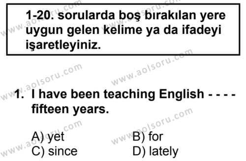 İngilizce 6 Dersi 2017 - 2018 Yılı 2. Dönem Sınavı 1. Soru