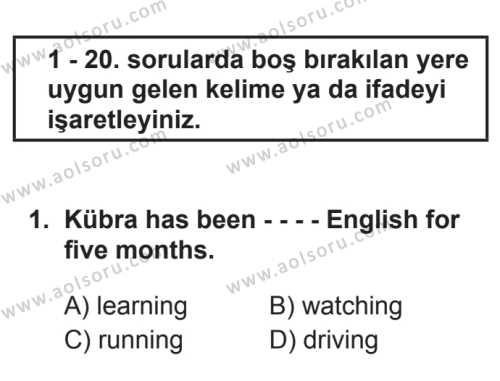 İngilizce 6 Dersi 2017 - 2018 Yılı 3. Dönem Sınavı 1. Soru