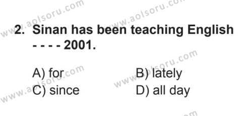 İngilizce 6 Dersi 2017 - 2018 Yılı 3. Dönem Sınavı 2. Soru