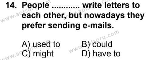 İngilizce 7 Dersi 2011-2012 Yılı 1. Dönem Sınavı 14. Soru