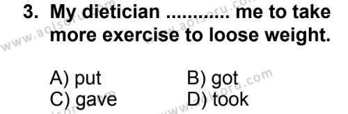 İngilizce 7 Dersi 2011 - 2012 Yılı 2. Dönem Sınav Soruları 3. Soru