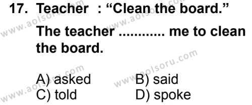İngilizce 7 Dersi 2014-2015 Yılı 1. Dönem Sınavı 17. Soru