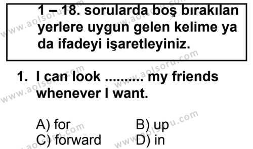 İngilizce 8 Dersi 2011 - 2012 Yılı Ek Sınavı 1. Soru