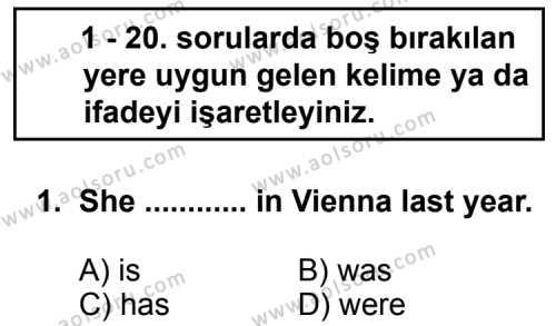 İngilizce 8 Dersi 2012 - 2013 Yılı 3. Dönem Sınav Soruları 1. Soru