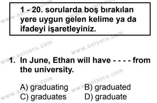İngilizce 8 Dersi 2016 - 2017 Yılı 2. Dönem Sınavı 1. Soru