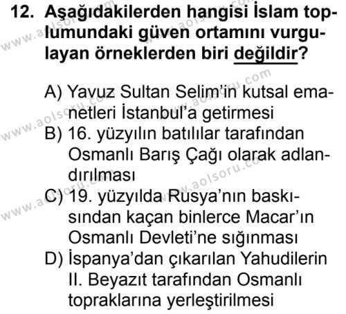 İslam Kültür ve Medeniyeti 1 Dersi 2017-2018 Yılı 1. Dönem Sınavı 12. Soru