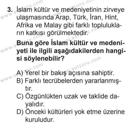 İslam Kültür ve Medeniyeti 1 Dersi 2017 - 2018 Yılı 3. Dönem Sınavı 3. Soru