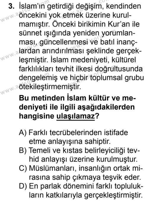İslam Kültür ve Medeniyeti 1 Dersi 2018 - 2019 Yılı 1. Dönem Sınavı 3. Soru