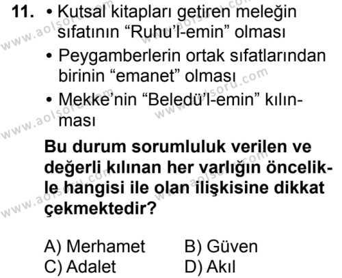 İslam Kültür ve Medeniyeti 1 Dersi 2018-2019 Yılı 1. Dönem Sınavı 11. Soru