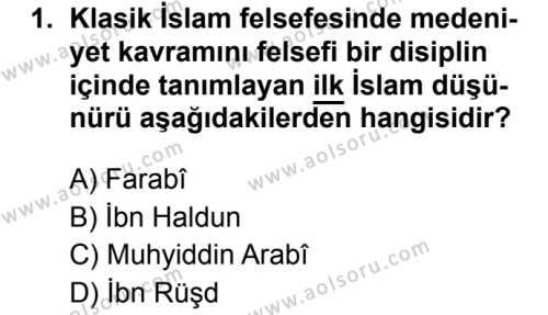 İslam Kültür ve Medeniyeti 1 Dersi 2019 - 2020 Yılı 1. Dönem Sınav Soruları 1. Soru
