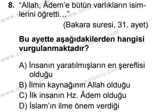 İslam Kültür ve Medeniyeti 1 Dersi 2019-2020 Yılı 1. Dönem Sınavı 8. Soru
