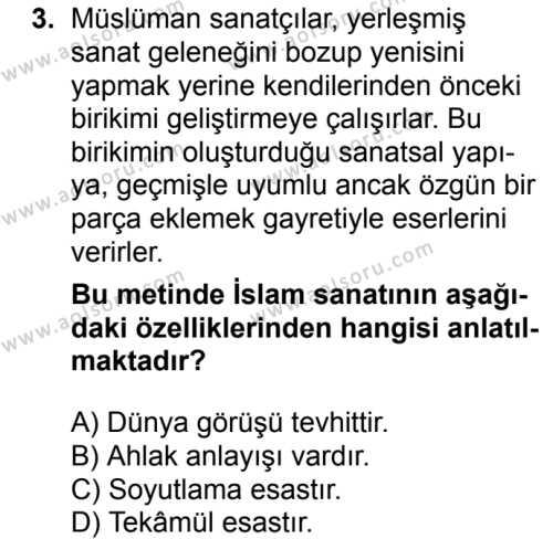 İslam Kültür ve Medeniyeti 2 Dersi 2017-2018 Yılı 1. Dönem Sınavı 3. Soru
