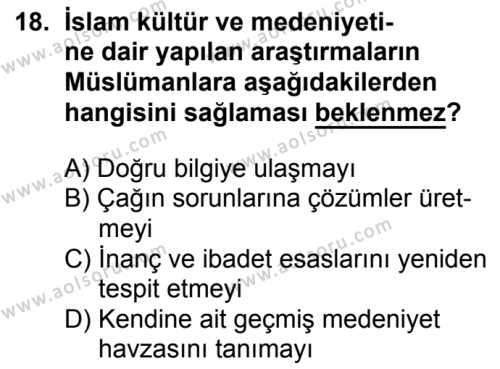 İslam Kültür ve Medeniyeti 2 Dersi 2017-2018 Yılı 1. Dönem Sınavı 18. Soru