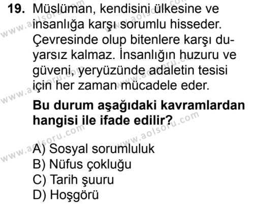 İslam Kültür ve Medeniyeti 2 Dersi 2017-2018 Yılı 1. Dönem Sınavı 19. Soru
