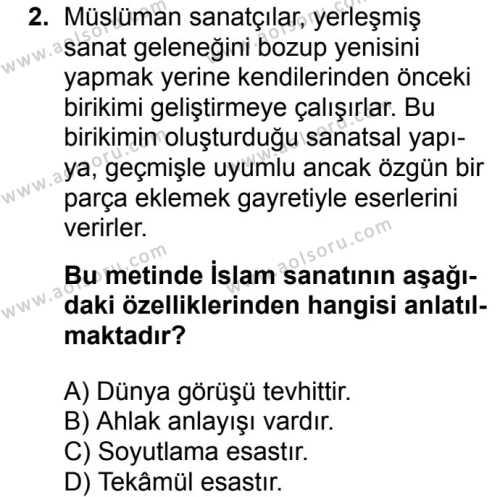 İslam Kültür ve Medeniyeti 2 Dersi 2017 - 2018 Yılı Ek Sınavı 2. Soru