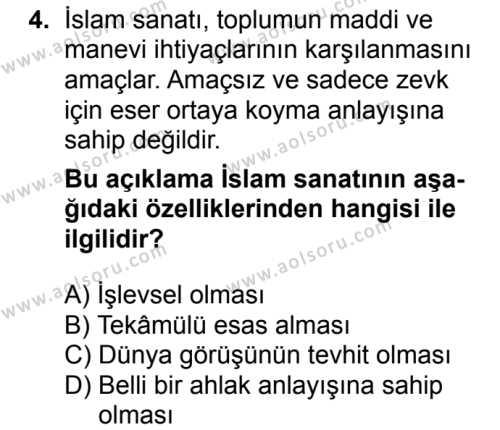 İslam Kültür ve Medeniyeti 2 Dersi 2018 - 2019 Yılı 3. Dönem Sınavı 4. Soru