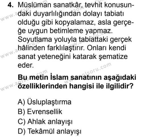 İslam Kültür ve Medeniyeti 2 Dersi 2019 - 2020 Yılı 2. Dönem Sınav Soruları 4. Soru