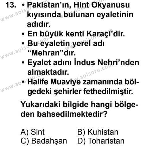 İslam Tarihi 1 Dersi 2013-2014 Yılı 1. Dönem Sınavı 13. Soru