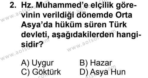 İslam Tarihi 2 Dersi 2013 - 2014 Yılı 3. Dönem Sınavı 2. Soru