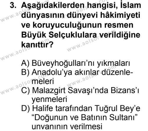 İslam Tarihi 2 Dersi 2014 - 2015 Yılı Ek Sınav Soruları 3. Soru