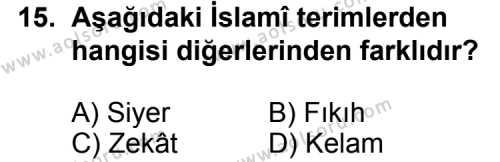 İslam Tarihi 2 Dersi 2015-2016 Yılı 1. Dönem Sınavı 15. Soru