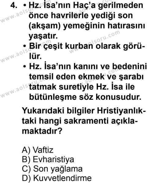 Karşılaştırmalı Dinler Tarihi 1 Dersi 2011-2012 Yılı 1. Dönem Sınavı 4. Soru