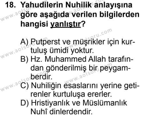 Karşılaştırmalı Dinler Tarihi 1 Dersi 2012-2013 Yılı 1. Dönem Sınavı 18. Soru