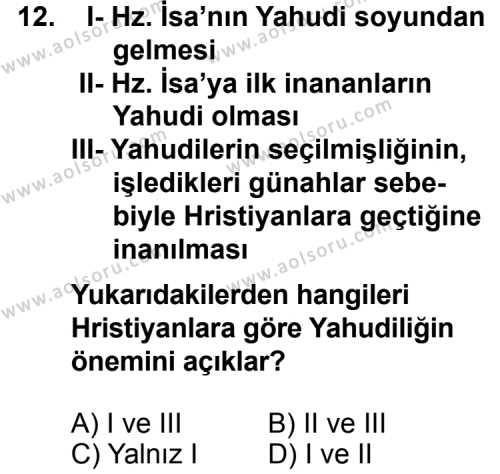 Karşılaştırmalı Dinler Tarihi 1 Dersi 2013-2014 Yılı 1. Dönem Sınavı 12. Soru