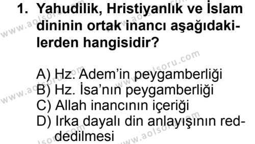 Karşılaştırmalı Dinler Tarihi 2 Dersi 2013 - 2014 Yılı 3. Dönem Sınavı 1. Soru