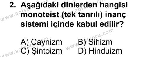 Karşılaştırmalı Dinler Tarihi 2 Dersi 2013 - 2014 Yılı 3. Dönem Sınav Soruları 2. Soru