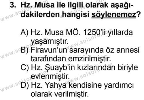 Karşılaştırmalı Dinler Tarihi 2 Dersi 2013 - 2014 Yılı 3. Dönem Sınavı 3. Soru