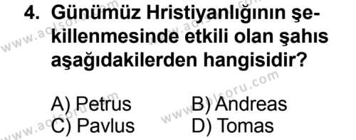 Karşılaştırmalı Dinler Tarihi 2 Dersi 2013 - 2014 Yılı 3. Dönem Sınavı 4. Soru