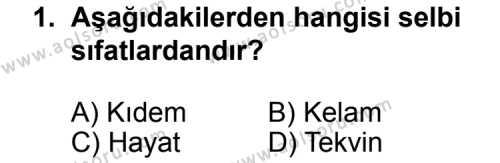Kelam 1 Dersi 2012-2013 Yılı 1. Dönem Sınavı 1. Soru