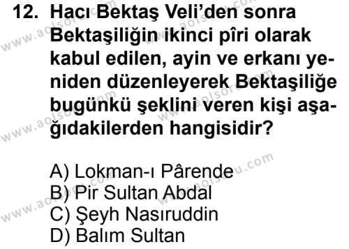 Kelam 1 Dersi 2013-2014 Yılı 1. Dönem Sınavı 12. Soru