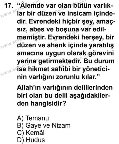 Kelam 1 Dersi 2013-2014 Yılı 1. Dönem Sınavı 17. Soru