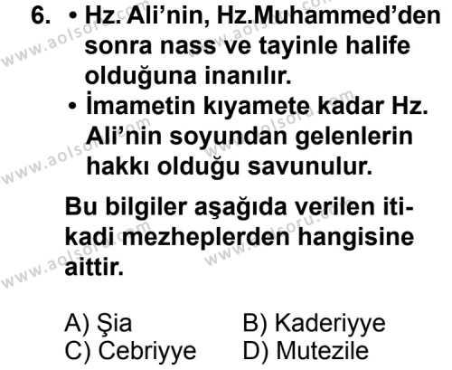 Kelam 1 Dersi 2014-2015 Yılı 1. Dönem Sınavı 6. Soru