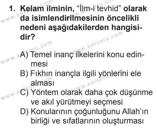 Kelam 1 Dersi 2017 - 2018 Yılı 2. Dönem Sınavı 1. Soru