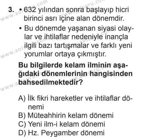 Kelam 1 Dersi 2017 - 2018 Yılı 2. Dönem Sınavı 3. Soru