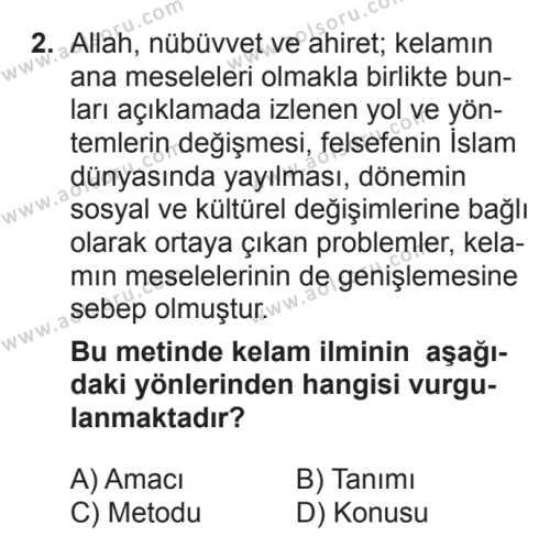 Kelam 1 Dersi 2017 - 2018 Yılı 3. Dönem Sınavı 2. Soru