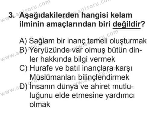 Kelam 1 Dersi 2017 - 2018 Yılı 3. Dönem Sınavı 3. Soru