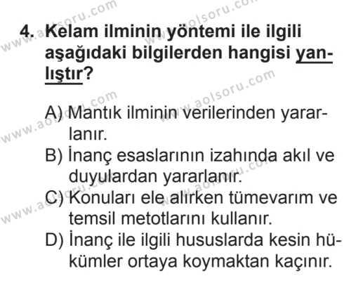 Kelam 1 Dersi 2017 - 2018 Yılı 3. Dönem Sınavı 4. Soru