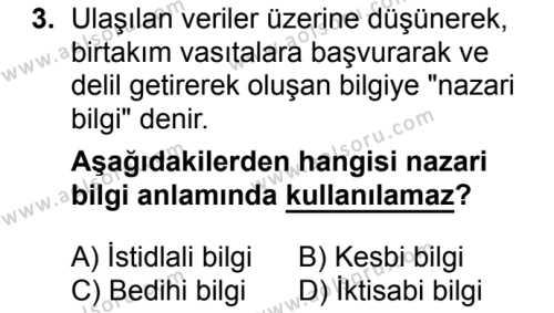 Kelam 1 Dersi 2017 - 2018 Yılı Ek Sınavı 3. Soru