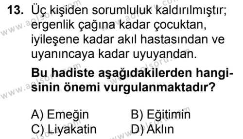 Kelam 1 Dersi 2018-2019 Yılı 1. Dönem Sınavı 13. Soru