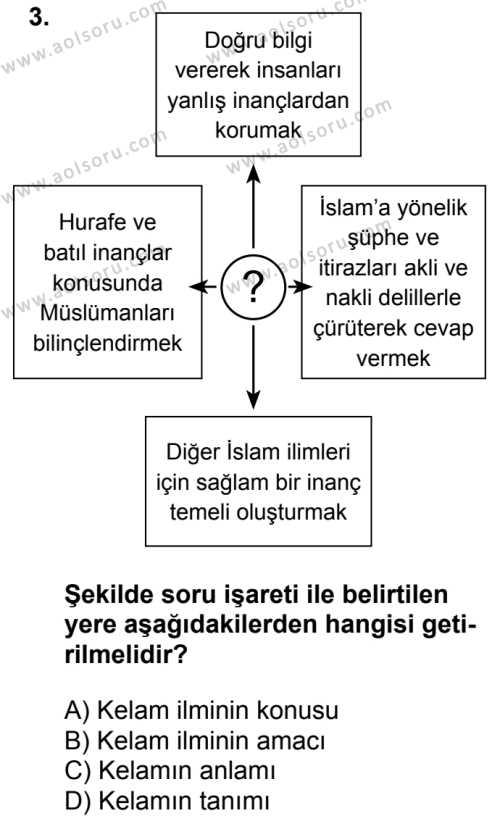 Kelam 1 Dersi 2018 - 2019 Yılı 3. Dönem Sınavı 3. Soru