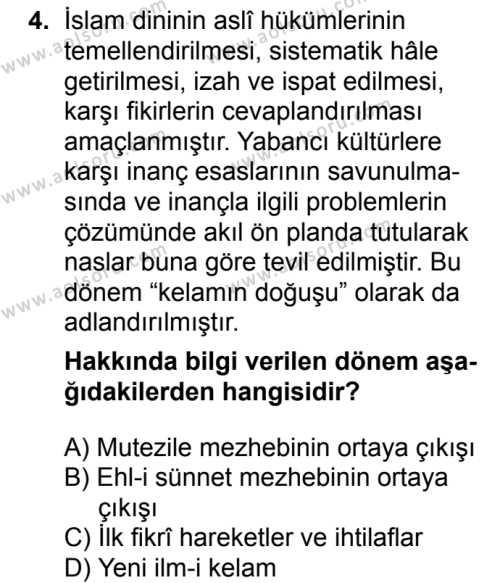 Kelam 1 Dersi 2018 - 2019 Yılı 3. Dönem Sınavı 4. Soru