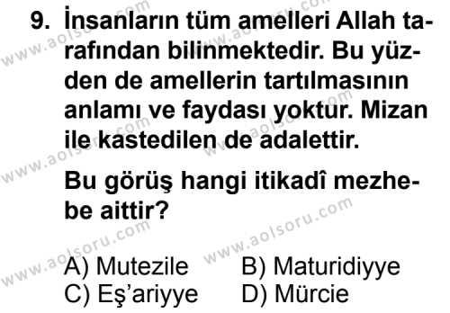 Kelam 2 Dersi 2013-2014 Yılı 1. Dönem Sınavı 9. Soru