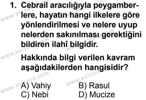 Kelam 2 Dersi 2013 - 2014 Yılı 3. Dönem Sınavı 1. Soru
