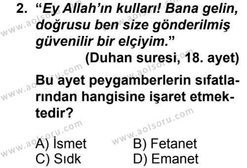 Kelam 2 Dersi 2013 - 2014 Yılı 3. Dönem Sınavı 2. Soru
