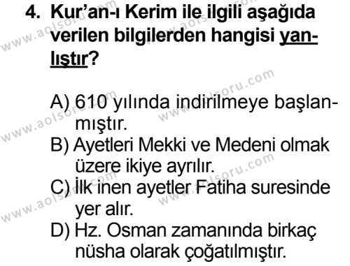 Kelam 2 Dersi 2013 - 2014 Yılı 3. Dönem Sınavı 4. Soru