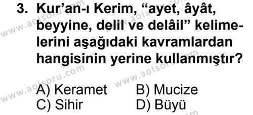 Kelam 2 Dersi 2014-2015 Yılı 1. Dönem Sınavı 3. Soru